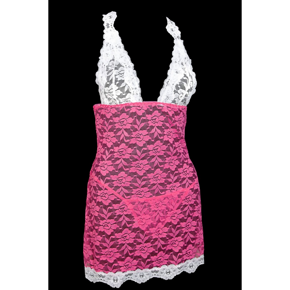 Pink and white lace chemise