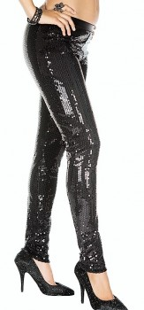 Black sequin leggings-21